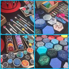 Pics of resin fluid art on coasters, bookmarks, storage tins and wine stoppers. Epoxy Resin Art, Diy Epoxy, Resin Crafts, Diy Crafts, Cook Book Stand, Art Studio Organization, Art Projects, Project Ideas, Ink In Water
