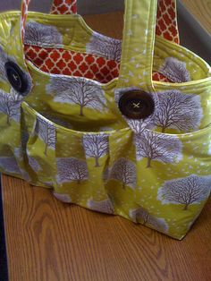 diaper bag or purse full of pockets! Use this idea for the outside pockets f my church bag. I like the bunchiness