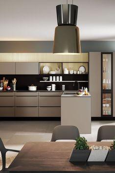 Kitchen Room Design, Modern Kitchen Design, Interior Design Kitchen, Kitchen Wrap, Kitchen Dining, Black Kitchens, Home Kitchens, Taupe Kitchen, Living Room Designs