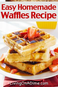 Try this yummy and easy homemade waffles recipe, with Dutch honey syrup, baked French toast, a brunch menu everyone will love and breakfast ideas to make it all easier!