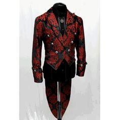 Shrine Gothic Wedding Military Imperial Tailcoat - Red and Black Brocade Gothic Fashion Men, Mens Fashion Suits, Black And Red Suit, Red Black, Hollywood Suits, Prom Suits For Men, Tux Shirt, Look Fashion, Fashion Outfits