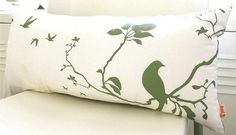 Olive green Print on Off white Flying By Rectangle Pillow by joom, $29.00