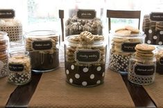 Milk & Cookies Party #buffet #birthday #party #baby #shower #cookie #milk #chocolate #sugar #bake #candy #dessert Cookie Buffet, Candy Buffet, Cookie Bars, Dessert Buffet, Cookie Swap, I Party, Swap Party, Party Favors, Cookie Containers