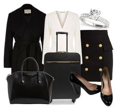 """""""going away for a business trip"""" by kandykuahgoddess ❤ liked on Polyvore featuring River Island, Balmain, Elizabeth and James, STELLA McCARTNEY, Givenchy and Miu Miu"""