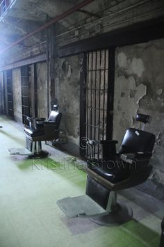 Prison Photography Old Abandoned Jail Photo Missouri State Penitentiary Barber Chairs Cell Block Photo by SilverBirdBoutique on Etsy