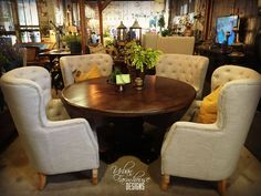 """60"""" round top table with high back chairs. #UFD #urbanfarmhousedesigns"""