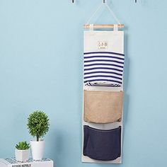 Let's Pet Special offer Wall Mounted 3 pocket Storage Bags bathroom kitchen supplies Fluid Systems Multilayer Pouch Storage Bags Wall Hanging Storage, Hanging Organizer, Articles Divers, Over The Door Organizer, Door Holders, Travel Crafts, Small Sewing Projects, Vide Poche, Striped Walls