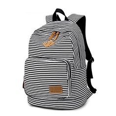 New Trending Briefcases amp; Laptop Bags: Artone Stripe School Bag Daypack Casual Backpack With Laptop Compartment White Black. Artone Stripe School Bag Daypack Casual Backpack With Laptop Compartment White Black  Special Offer: $25.99  300 Reviews Measurement: Size:11.4*6.7*17.7IN/ 29*17*45CM Weight: 1LB/ 0.45KG, can accommodate 14 inch Laptop Features:– Well designed and high quality canvas bag, durable...