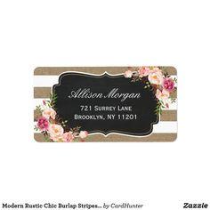 Modern Rustic Chic Burlap Stripes Floral Label