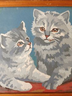 Vintage Paint by Numbers Two Kittens by JordansUpcycle on Etsy