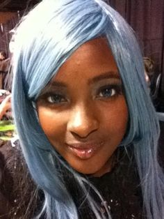 Blue Hair On Black Women | Me, with a cute baby blue wig at Comic-Con