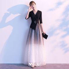 Elegant Black Evening Dresses 2020 A-Line / Princess V-Neck Star Sequins 1/2 Sleeves Backless Floor-Length / Long Formal Dresses