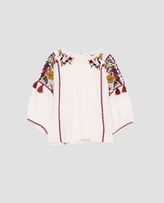 Zara Tops, Western Tops, Free Machine Embroidery Designs, Embroidered Blouse, Piece Of Clothing, Autumn Winter Fashion, Bell Sleeve Top, Street Style, Womens Fashion
