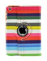 LiViTech offer LiViTech(TM) Multi-Color Strip Design 360 Degree Rotating Cover Case for Apple iPad Mini (Rainbow). This awesome product currently limited units, you can buy it now for  $12.99, You save - New
