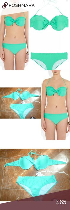 Miu Miu Green scalloped underwired Bow Bikini 38IT BRAND NEW MIU MIU BOW BIKINI WITH TAG CURRENT PRICE $245 USD, SIZE 38 ITALIA & USA SIZE; SMALL ...........pretty bikini set!!  NOTE: 100% AUTHENTIC ISNT COUNTERFEIT PURCHASED AT LUXURY STORE IF I FIND THE ORIGINAL RECEIPT I WILL INCLUDED.   Green Scalloped Underwired Bow Bikini Mint stretch-nylon padded underwired cups, scalloped trims, bow detail scalloped trim fully lined ties at halterneck, clasp fastening at back 80% nylon, 20%…