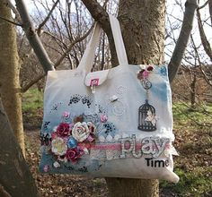 A Pretty Paper and Chipboard Story...by Lou Collins: Altered Canvas Bag (Photo heavy!)