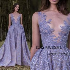 ==> [Free Shipping] Buy Best Custom Make Evening Dresses Deep V Neck Lace Appliques Lavender Sheer Sleeveless Ball Gown Prom Dresses Paolo Sebastian 2017 Online with LOWEST Price   32716633371