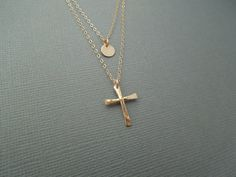 Etsy listing at http://www.etsy.com/listing/171627599/two-tier-strand-necklace-cross-disc