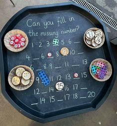 Maths Eyfs, Numeracy Activities, Eyfs Classroom, Nursery Activities, Preschool Learning, Kindergarten Math, Teaching Math, Math Challenge, Tuff Tray
