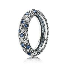 Pandora Ring Black Friday Cosmic Stars with Clear CZ and Midnight Blue Crystal