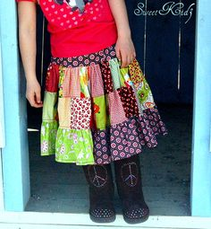 PENNY patchwork twirl skirt  pdf tutorial  ebook  by sweetbaby3