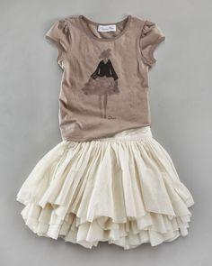 Dior Kids Girls  Layered Ruffle Skirt Cream