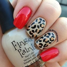 cheetah and red nails