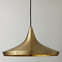 Buy Tom Dixon Brushed Wide Beat Pendant Light, Brass Online at johnlewis.com