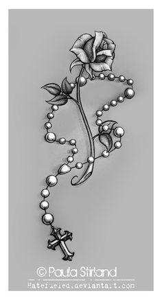 tato ikan koi, heart and flower tattoo, Rosery Beads Tattoo, Rosary Tattoo Wrist, Dragonfly Tattoo, Cross Tattoos For Women, Tattoos For Guys, Neue Tattoos, Body Art Tattoos, Faith Tattoos, Heart Tattoos