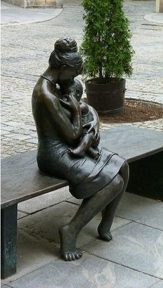 Statue: Mother And Child ,Olomouc, Czech Republic                              …