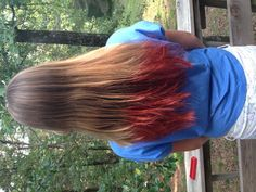 Dip-dyed hair-we used Hawaiian Punch packets!