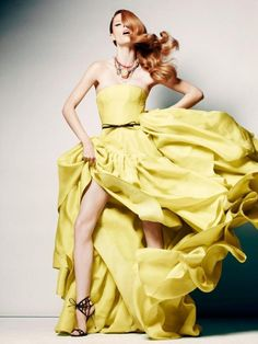 jason wu, The Room in Canada Spring 2012 campaign featuring Coco Rocha in a citron silk gazar gown