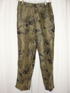 CHICO'S Womens 12/14 Green Black Silk Linen Leaf Print Pants Slacks Size 2 Large #Chicos #CasualPants