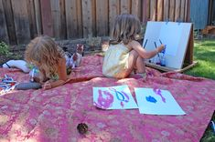 Art studio idea that can be created in the outdoors. Art crafts can be created outdoors such as painting rocks, drawing with various marking utensils, drawing what they see in the outdoors, etc.