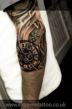 Pocket watch tattoo sleeve in progress,Gabi Tomescu.Extreme tattoo&piercing. Fort William.Highland.Realistic tattoo, Black and grey tattoo, Japanese tattoo, Traditional tattoo, Floral tattoo, Chinese tattoo, Fine line art tattoo, Old school tattoo, Tribal Tattoo, Maori tattoo, Religious tattoo, Pin-up tattoo, Celtic tattoo, New school tattoo, Oriental tattoo, Biomechanical tattoo: