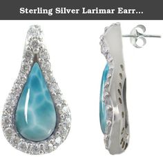 Sterling Silver Larimar Earrings (BTS-NES2970/LR/CZWH/R). Gorgeous sterling silver larimar earrings from our very special new collection.