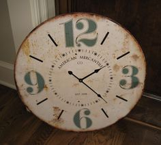 Large Wall CLOCK*Round Face*Primitive/French Country/American Chic Shabby Decor #NaivePrimitive