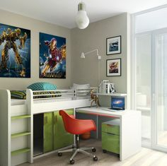 Interesting Kid Beds for Your Kids Room Design Ideas : Photo Collage Ideas With Swing Arm Lamp And Pendant Lighting For Contemporary Kids Room Design With Kid Beds And Striped Pillows Plus Office Chair Also Double Glass Door