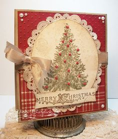 Very Vintage! I love how Vicki antiqued this card by using French Foliage images stamped around the Christmas Lodge tree! Stamped Christmas Cards, Stampin Up Christmas, Christmas Cards To Make, Xmas Cards, Norway Christmas, Christmas Lodge, Christmas Crafts, Christmas Trees, Card Making Inspiration