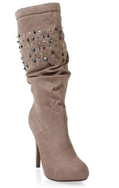 high heel #boot features allover suede and #stud details   $29.70