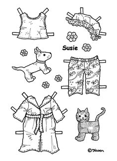 SUSIE from Karen`s Paper Dolls to Print and Colour 4 of 5