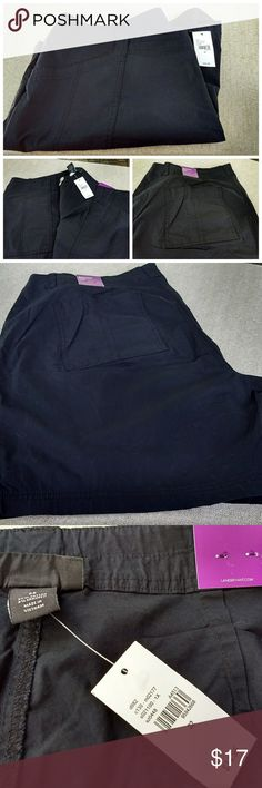 """Lane Bryant Black Shorts - Size 22 NWT Lane Bryant size 22 shorts in black. New with tags. 97% cotton, 3% spandex. 2 button & zipper front close. 2 front slash pockets. 2 back pockets. Inseam is 8"""". Lane Bryant Shorts"""