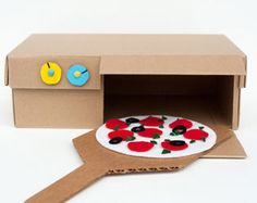 Grab an old shoe box and make your very own play pizza oven!