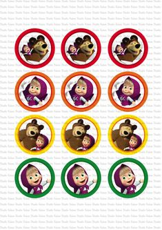 DIGITAL Masha and the Bear toppers - PRINT yourself - NOT being sent in the post