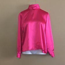 Womens Blouse Shirt Size Medium Satiny Bright Pink Turtleneck Long Sleeve Career