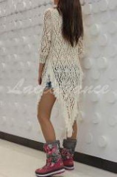 Crochet Cardigan Pattern, Crochet Shirt, Crochet Stitches Patterns, Crochet Lace, Lace Knitting, Crochet Summer Dresses, Crochet Woman, Crochet Fashion, Crochet Clothes