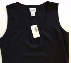 Chicos Erin Sleeveless Top Tank Black Knit Career Gathered Scoop Neck Size 0 NWT #Chicos #TankCami #DressyCareerorCasual