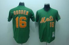 Mitchell and Ness Mets #16 Dwight Gooden Stitched Green Throwback Baseball Jersey