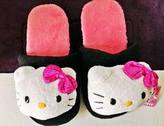 Hello Kitty Plush Slippers House Shoes Scuffs Black Sequins Ladies MEDIUM 7-8 $29.99 #HelloKitty