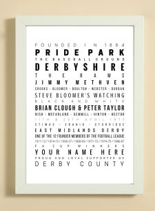 Derby County Football Club Word Art Design Print - Words, Names And Facts Associated With Derby County FC - In White Or Black A4 Box Frame